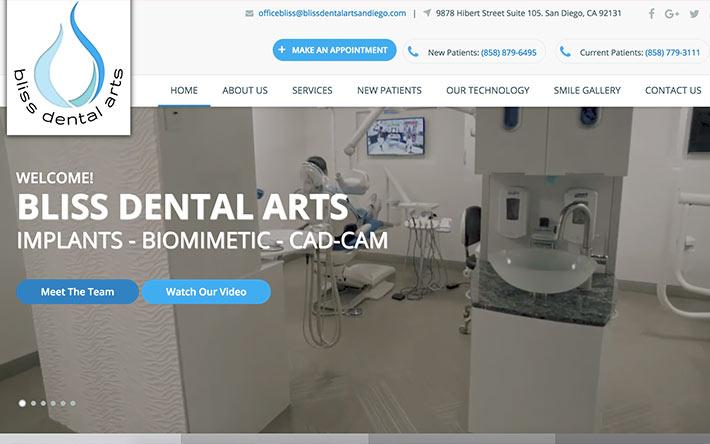 Jacksonville Web Design Case Study on Bliss Dental Arts San Diego